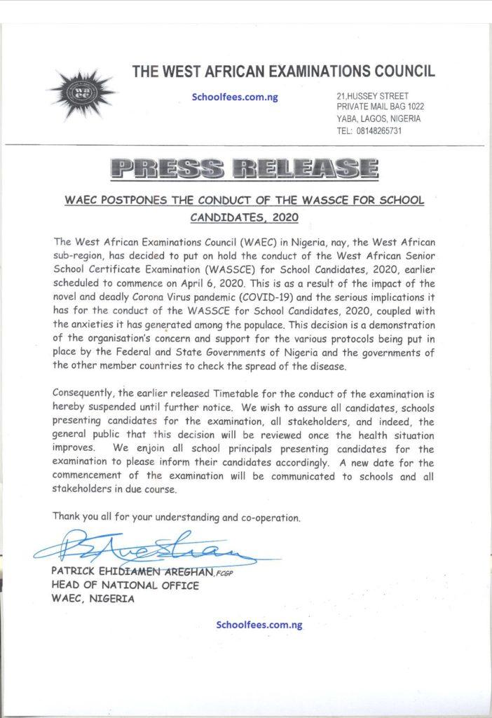WAEC Examination Postponed